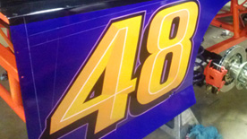 Race car numbers hand painted